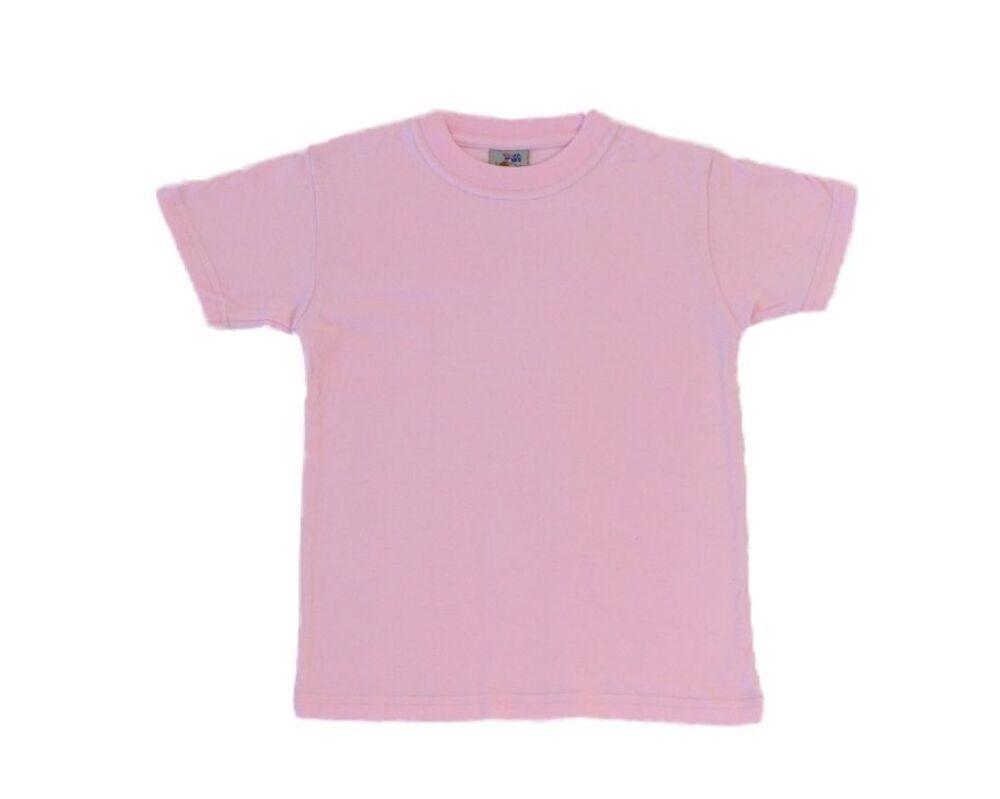 NEW Kids Childrens Boys Girls Plain T Shirt 100/% Cotton 2-14 White Black Colours