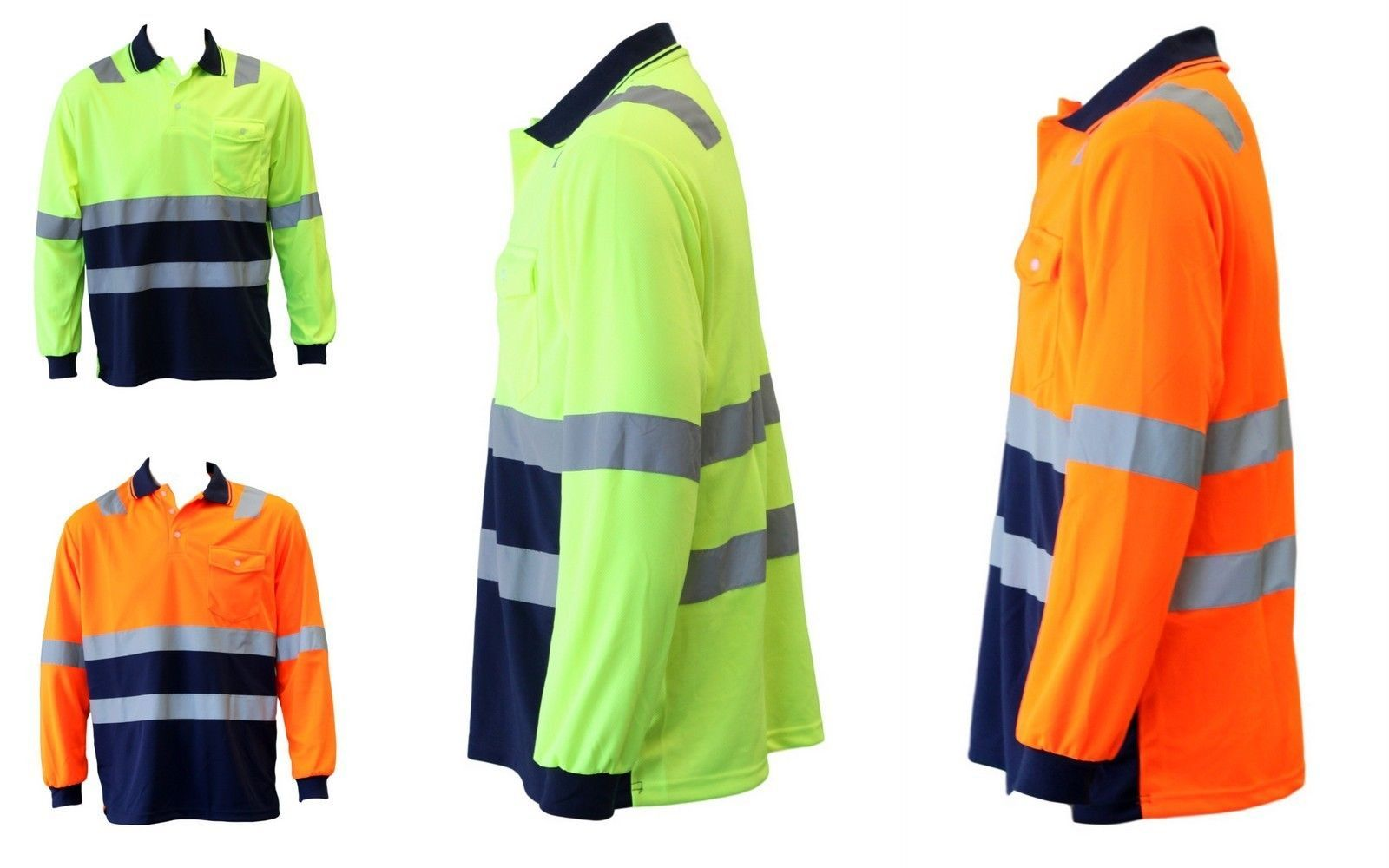 Hi vis safety workwear long sleeve polo shirt top for Hi vis shirts with reflective tape