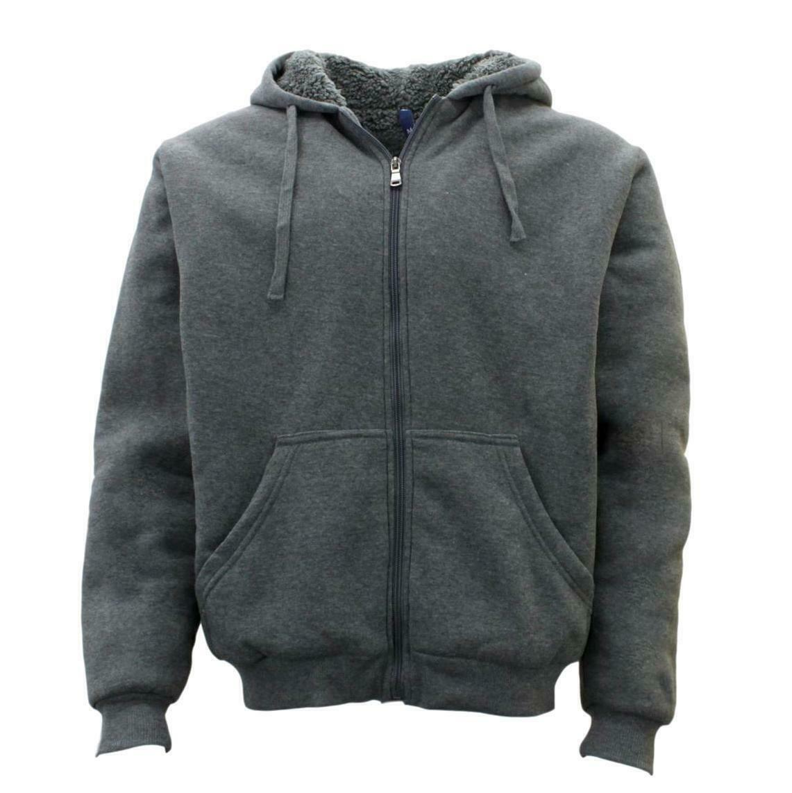 Winter-Mens-Womens-Unisex-Zip-Up-Hoodie-w-Sherpa-Fur-Thick-Hooded-Jacket-Jumper thumbnail 21