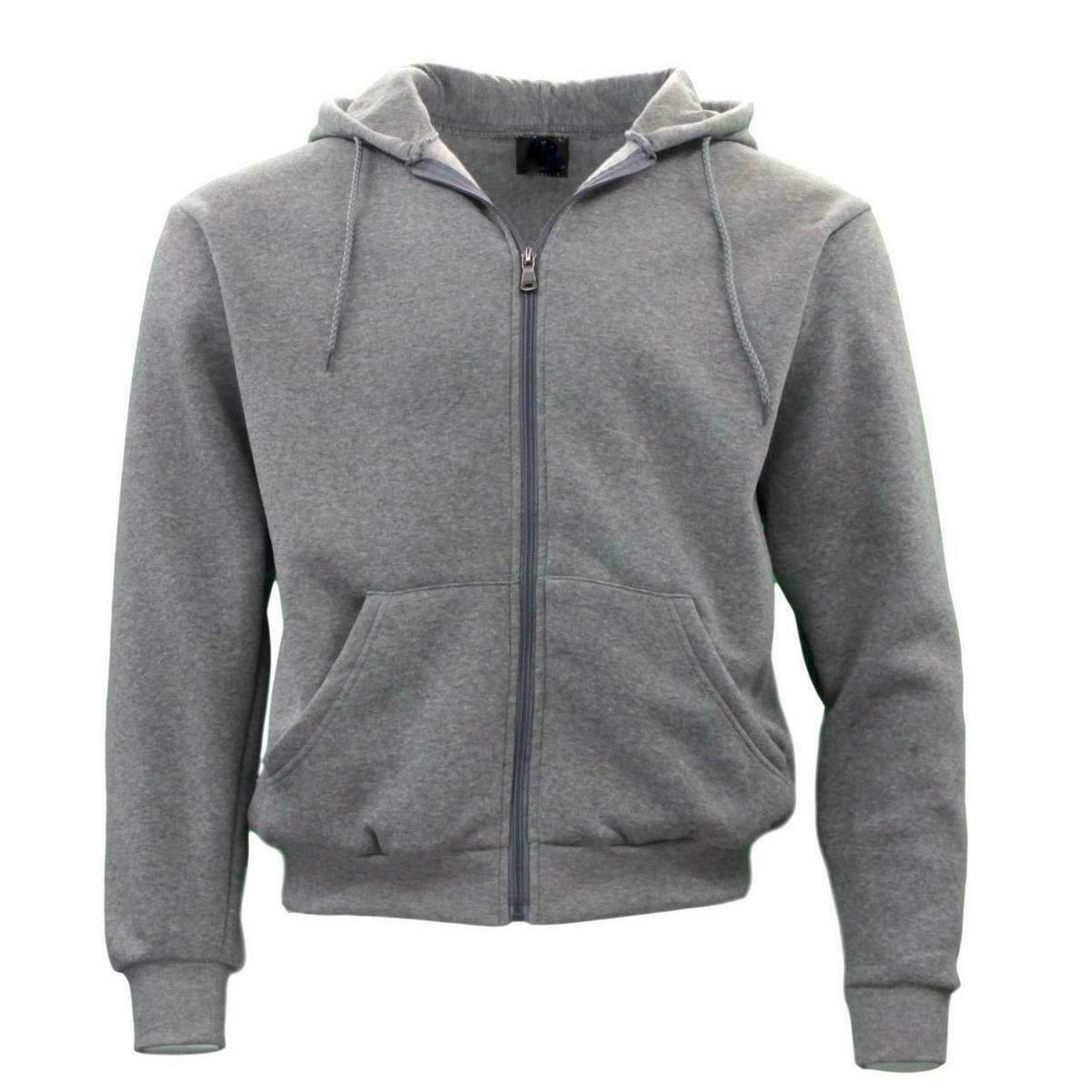 Adult-Unisex-Men-039-s-Zip-Up-Hoodie-w-Fleece-Hooded-Jacket-Jumper-Basic-Blank-Plain thumbnail 28