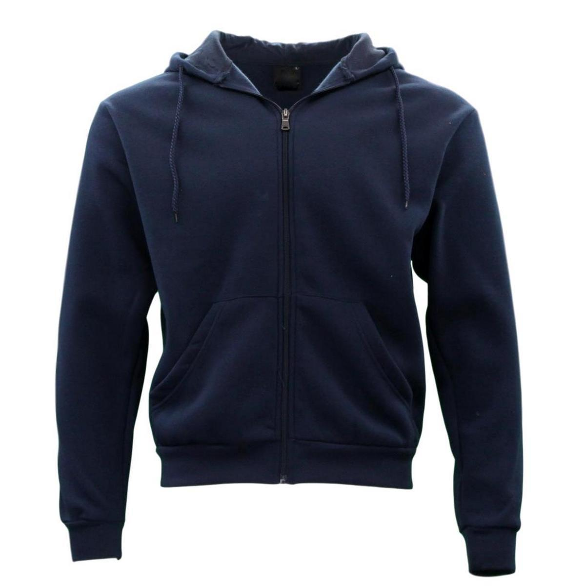 Adult-Unisex-Men-039-s-Zip-Up-Hoodie-w-Fleece-Hooded-Jacket-Jumper-Basic-Blank-Plain thumbnail 7