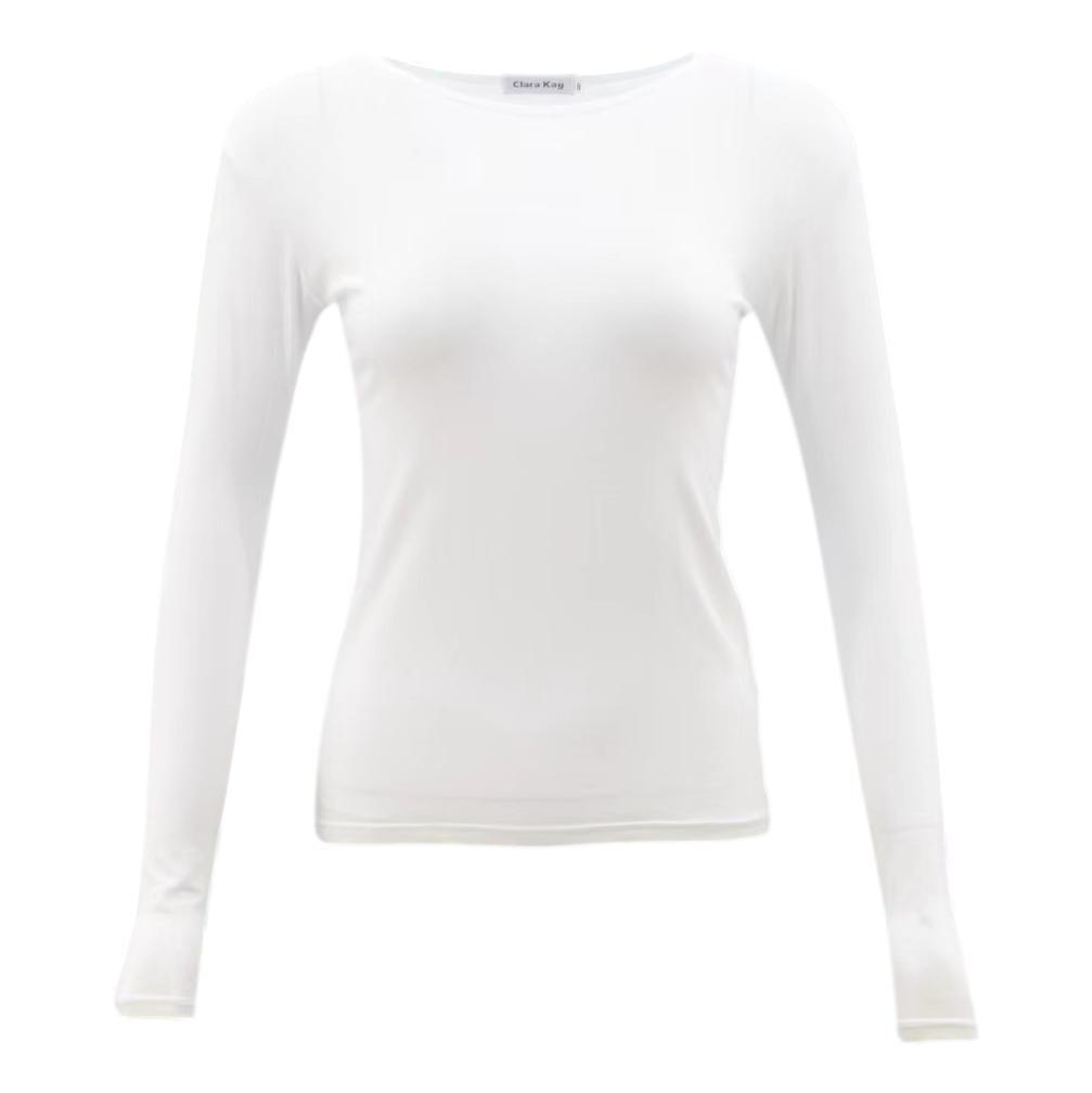 NEW-Women-039-s-Long-Sleeve-Crew-Neck-Soft-Stretch-Plain-Colours-Basic-Tee-T-Shirt thumbnail 42