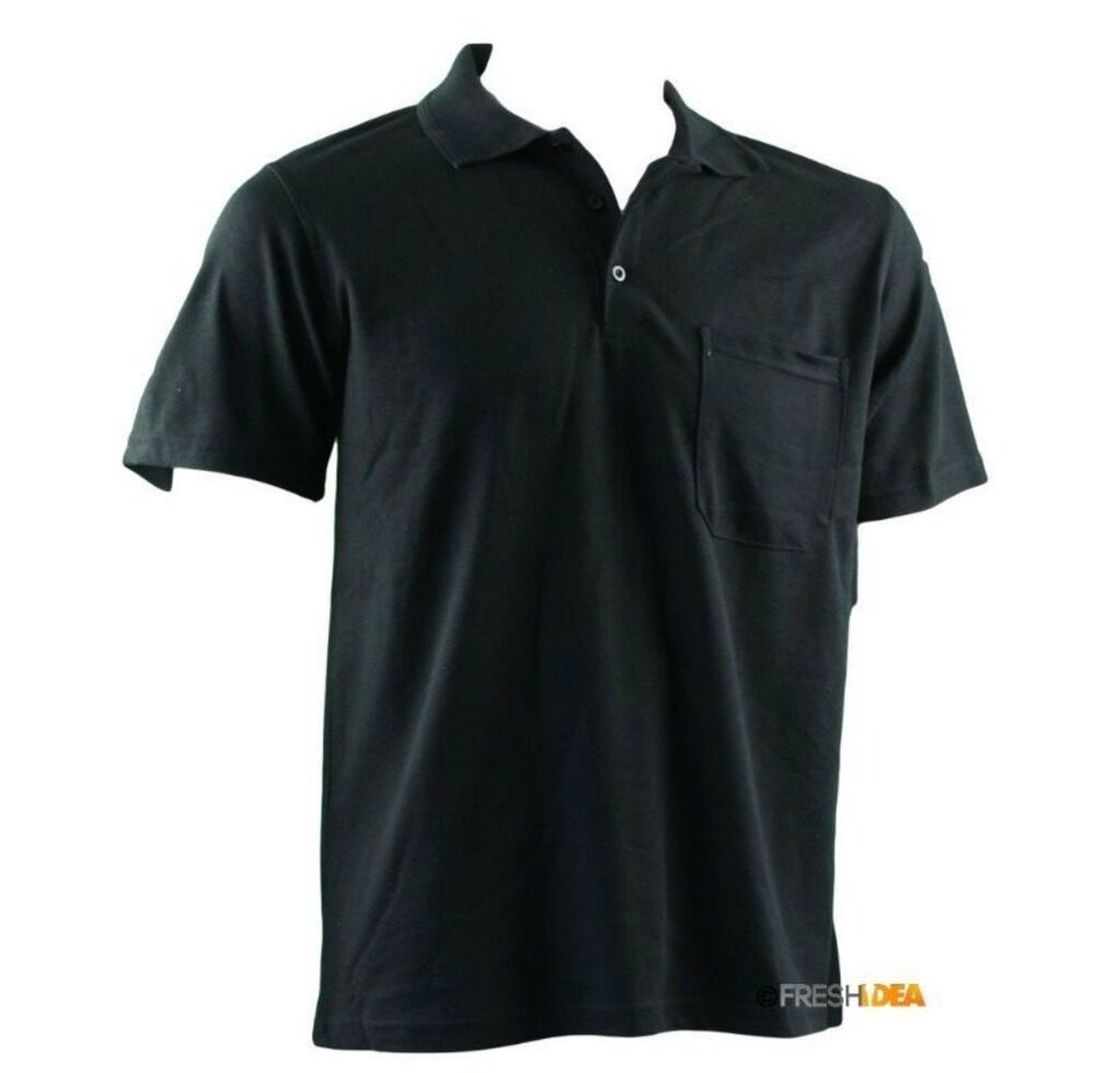 New-Men-039-s-Short-Sleeve-Polo-T-Shirt-Tee-Basic-Plain-Black-Grey-Cotton-Casual-Top thumbnail 5