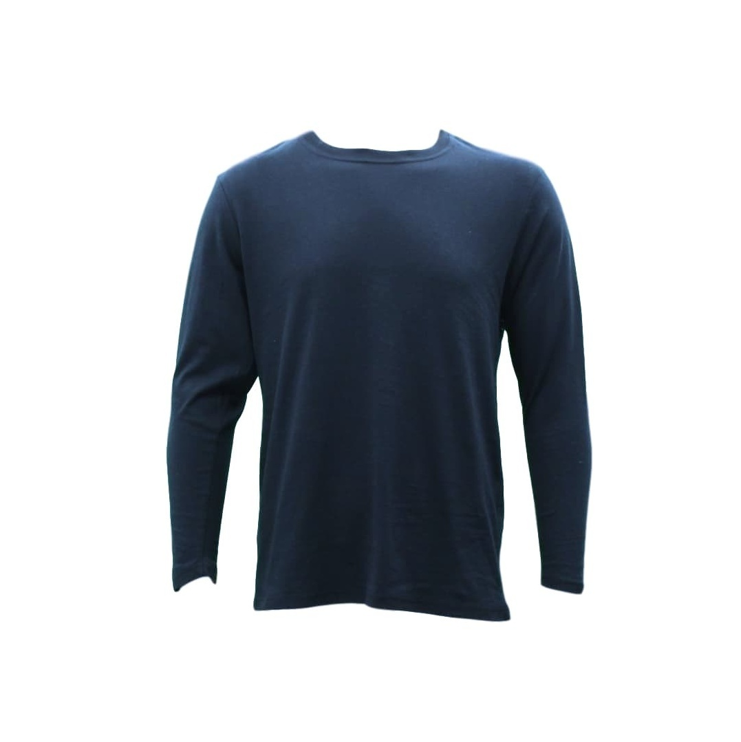 thumbnail 7 - NEW-Men-039-s-Plain-Cotton-Crew-Neck-Long-Sleeve-Basic-T-Shirt-Tee-Top-Black-Navy