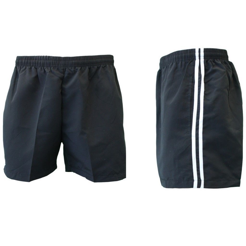 Mens-Womens-Casual-Training-Running-Jogging-Gym-Sport-Shorts-w-Stripes-S-3XL thumbnail 4