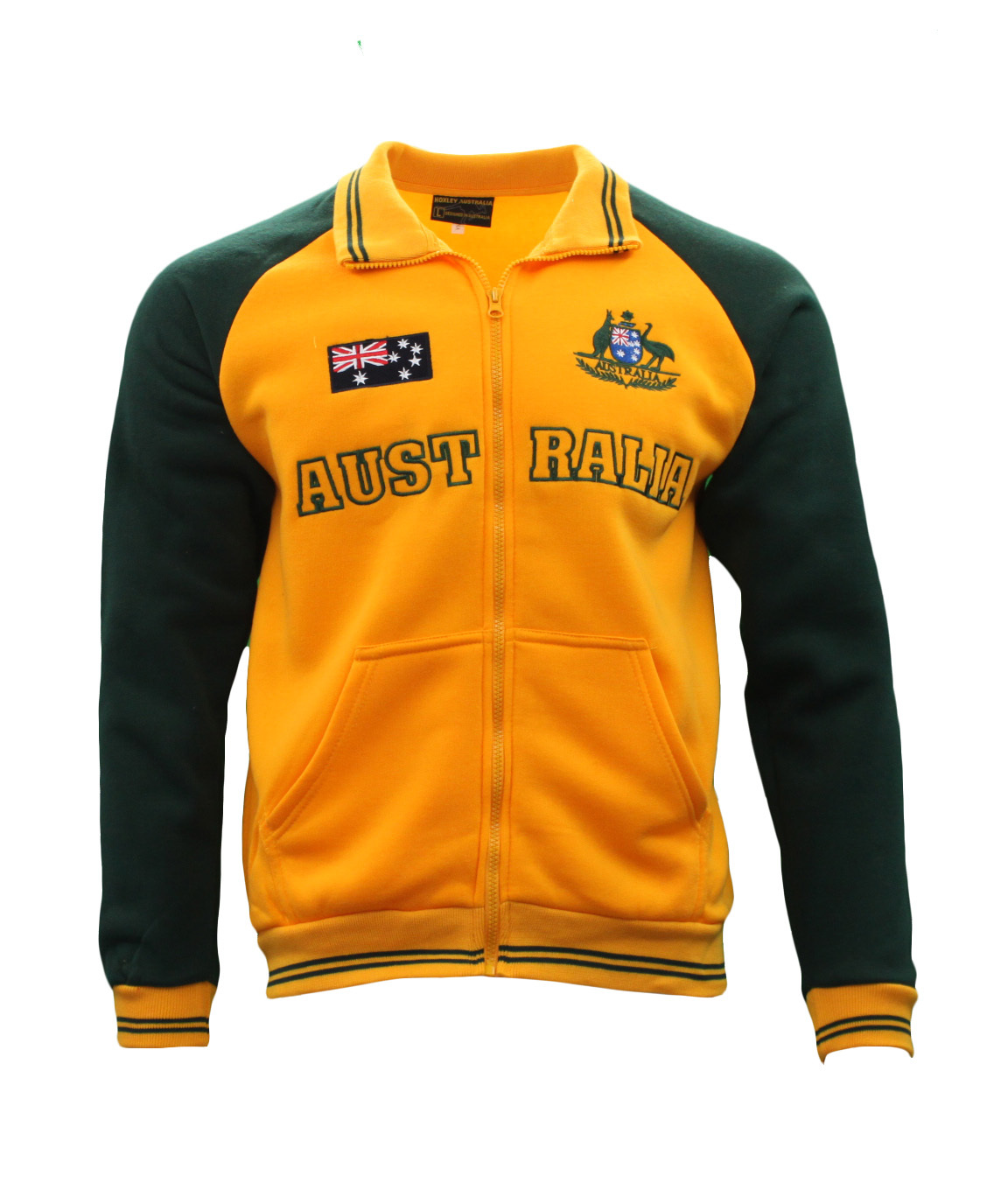 Adult-Full-Zip-Up-Baseball-Jacket-Jumper-Australian-Australia-Day-Green-amp-Gold thumbnail 11