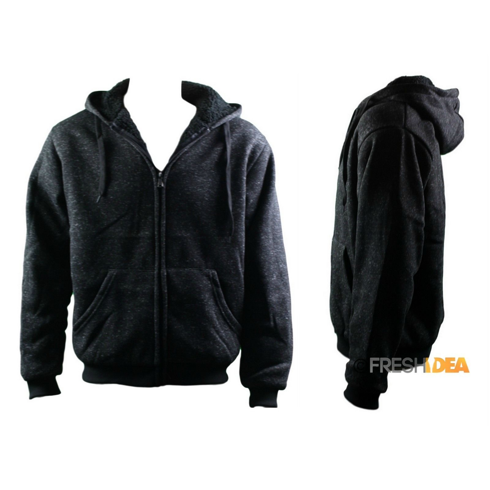 Adult-Unisex-Men-039-s-Zip-Up-Hoodie-w-Fleece-Hooded-Jacket-Jumper-Sweater-Look thumbnail 5
