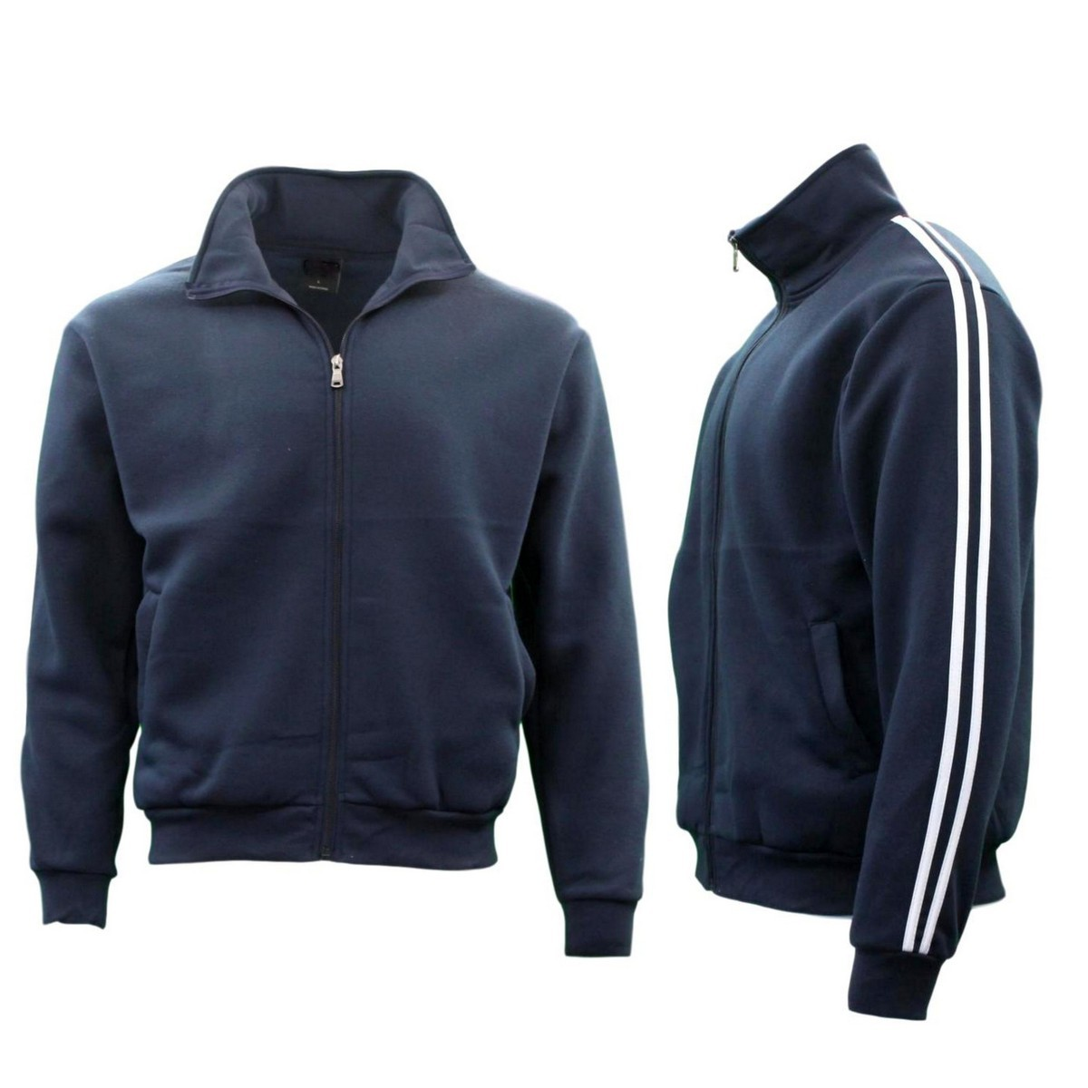 Men-039-s-Casual-Sweatshirt-Jacket-Full-Zip-Stand-Collar-Sports-Jumper-Hoodie thumbnail 13