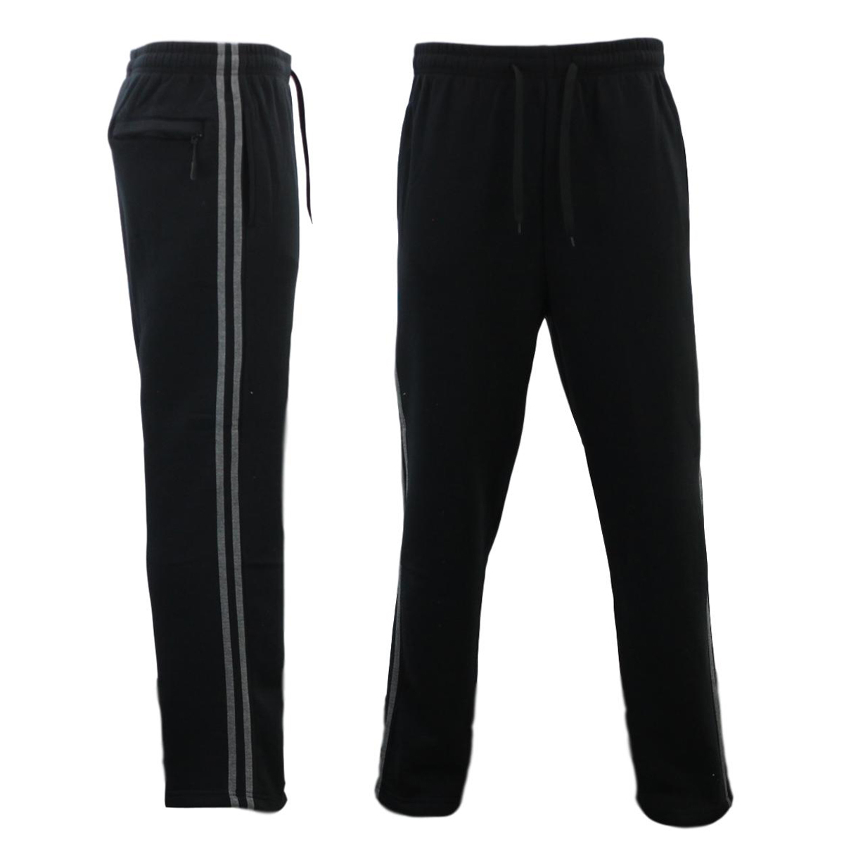 NEW-Men-039-s-Fleece-Lined-Track-Pants-w-Zip-Pocket-Striped-Casual-Track-Suit-Pants thumbnail 8