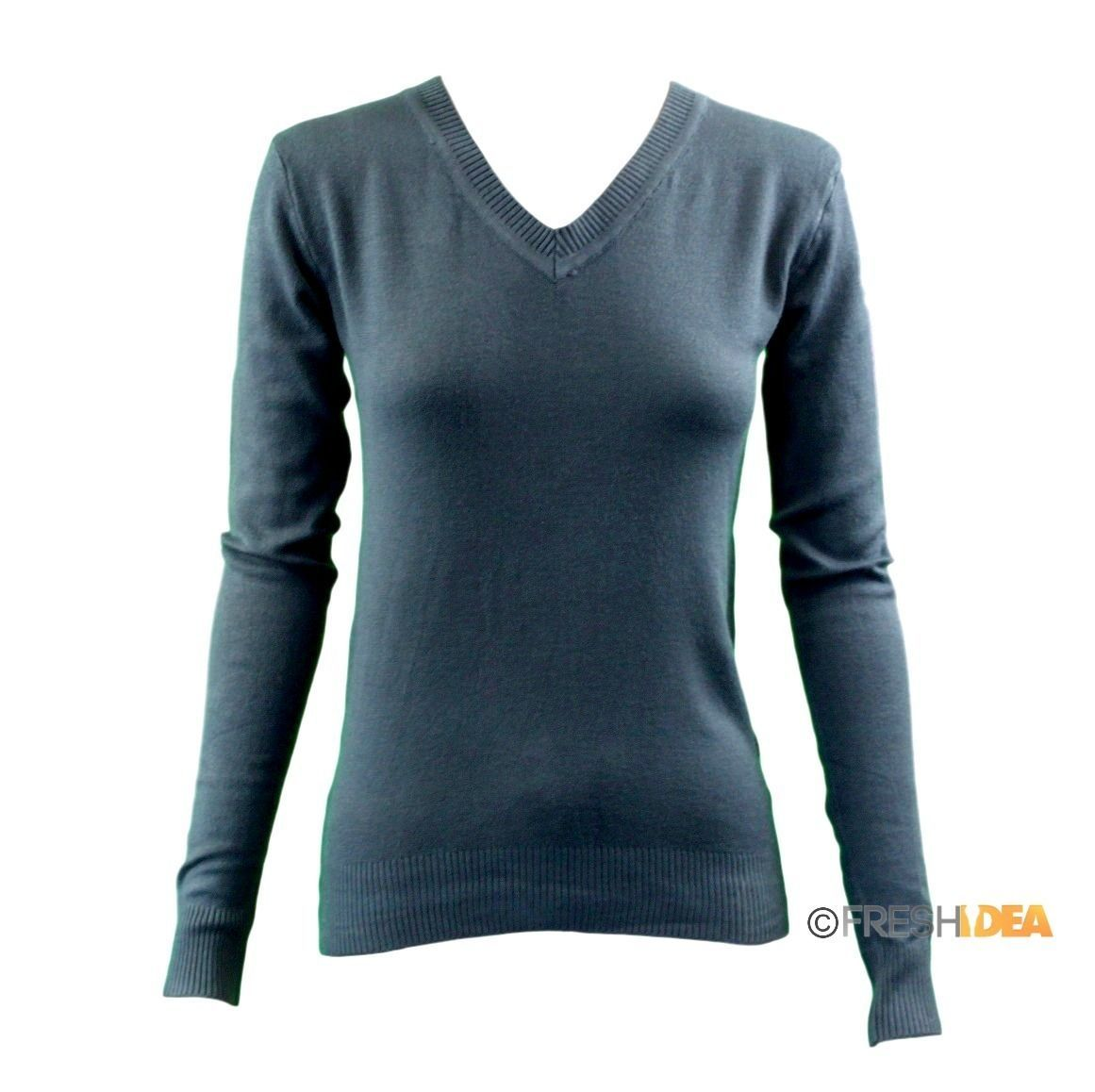 Women-039-s-Ladies-Knitted-V-Neck-Jumper-Sweater-Knitwear-Pullover-Fine-Cotton-Blend thumbnail 8
