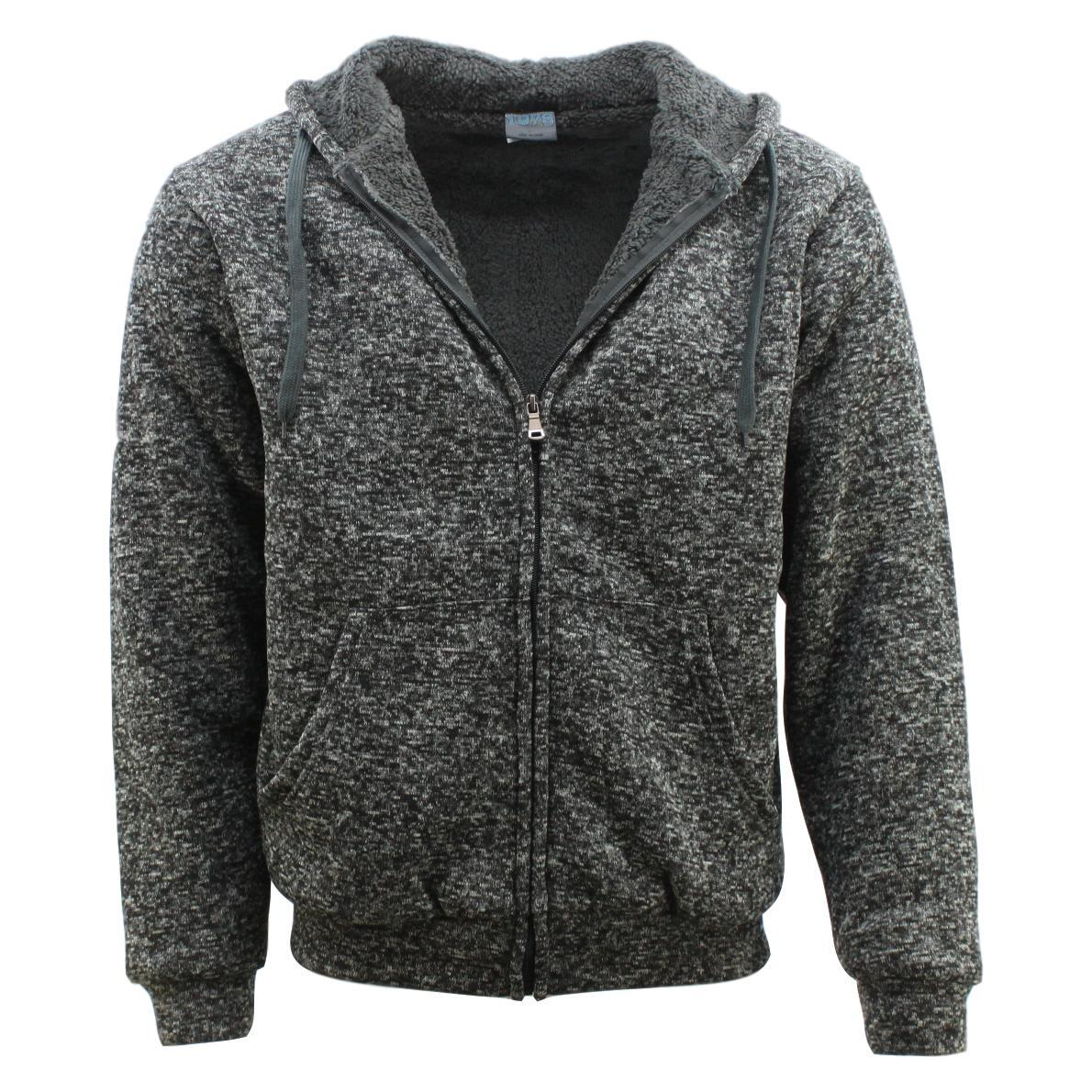 Winter-Mens-Womens-Unisex-Zip-Up-Hoodie-w-Sherpa-Fur-Thick-Hooded-Jacket-Jumper thumbnail 46