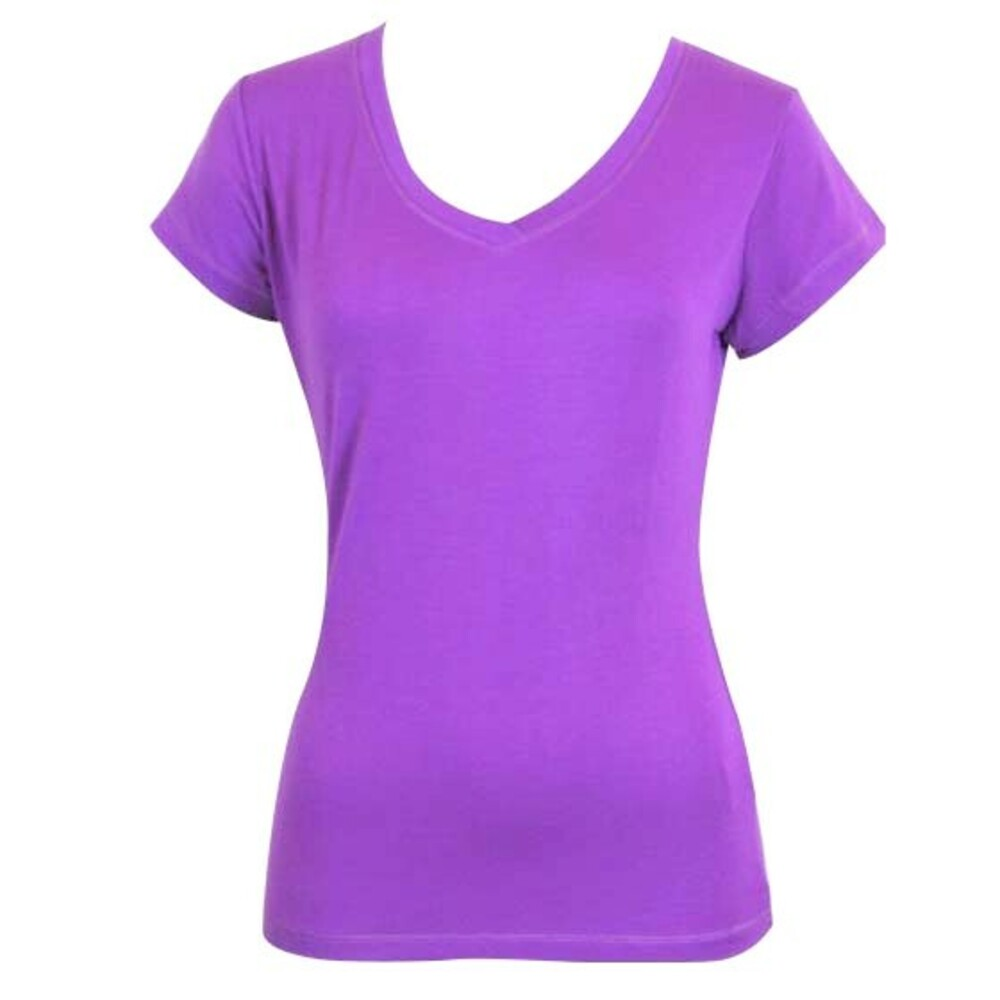 Women-039-s-Ladies-Soft-Stretch-T-Shirt-Tee-Top-Basic-Plain-White-Black-Crew-Neck thumbnail 31