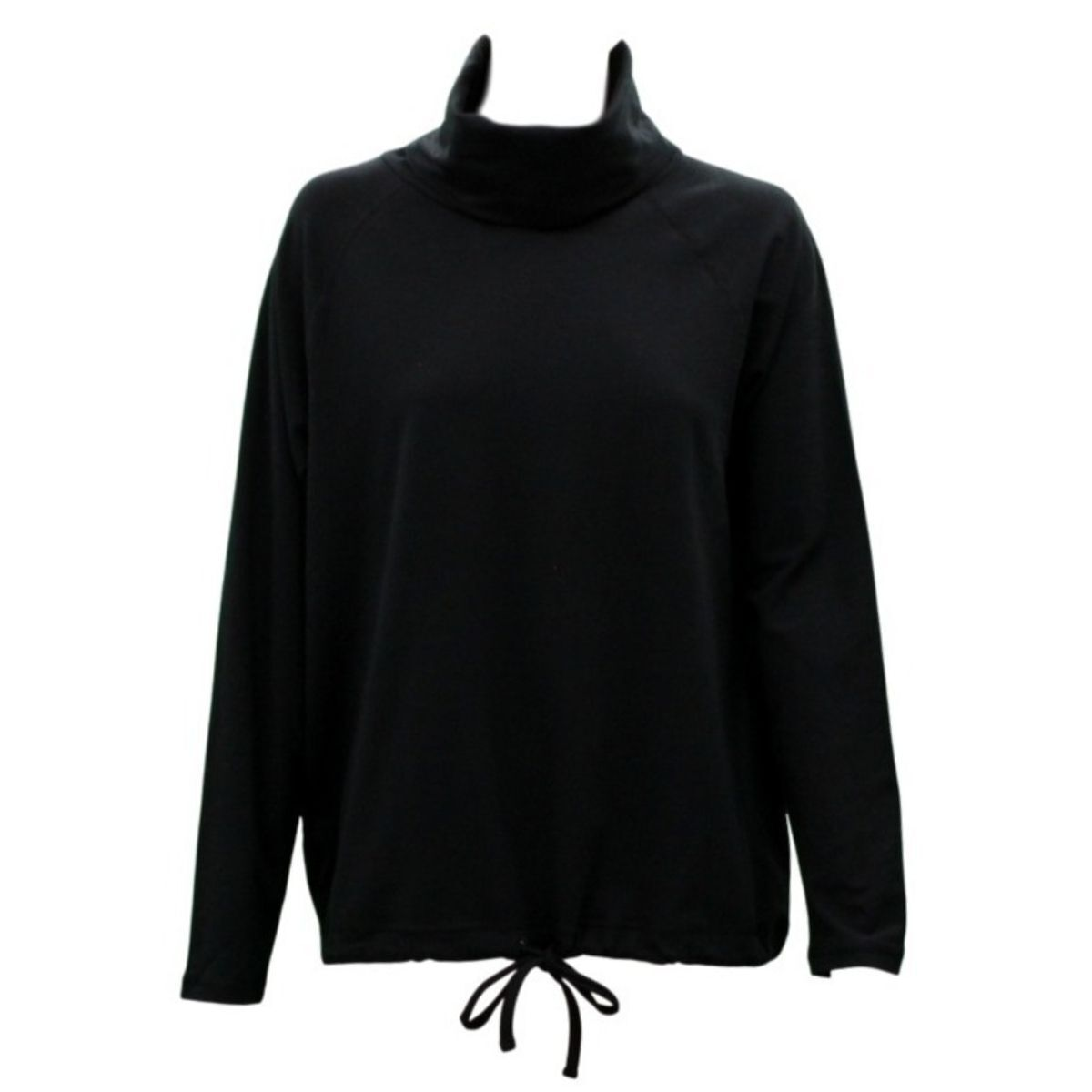 Women-039-s-Cotton-Long-Sleeve-Turtle-Neck-Skivvy-Top-High-Neck-w-Drawstring-Hem thumbnail 3
