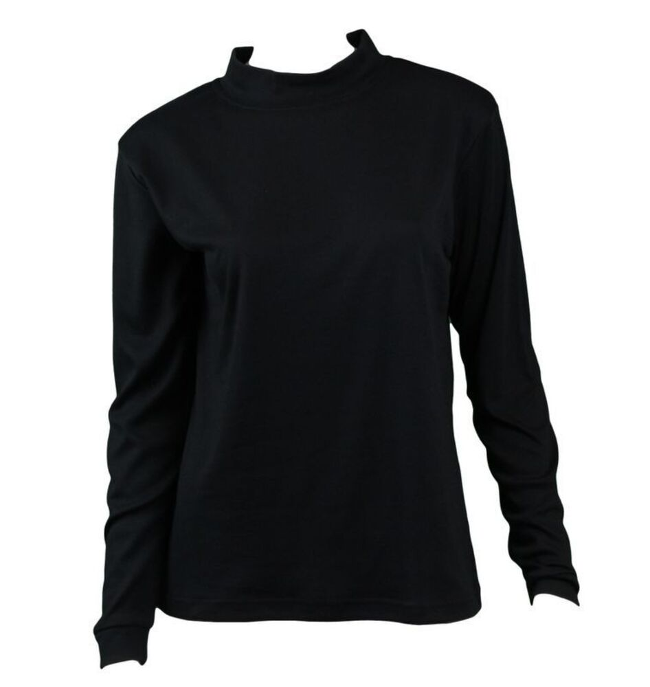 NEW-Women-039-s-Cotton-Skivvy-Long-Sleeve-Top-High-Neck-Basic-Plain-Core thumbnail 3