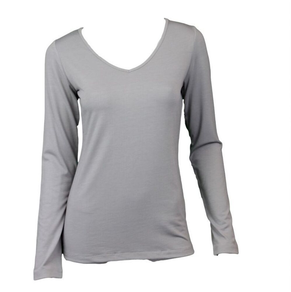 NEW-Women-039-s-Long-Sleeve-V-Neck-Soft-Stretch-T-Shirt-Tee-Top-Basic-Plain-Colours thumbnail 21