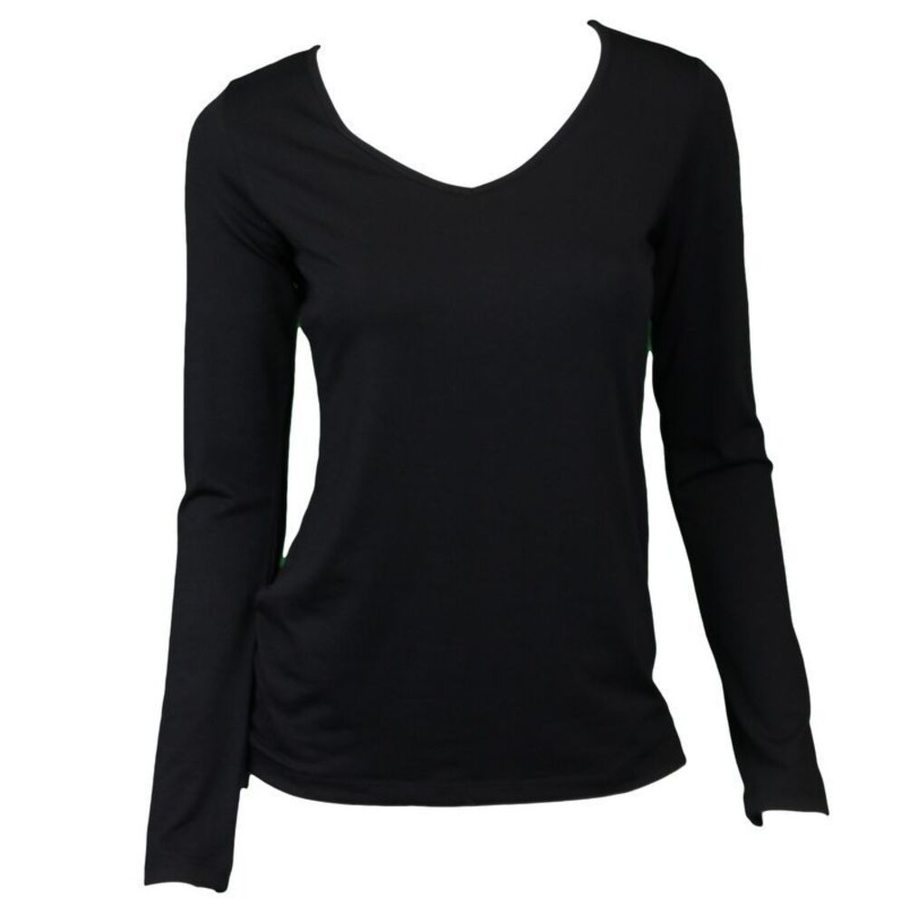NEW-Women-039-s-Long-Sleeve-V-Neck-Soft-Stretch-T-Shirt-Tee-Top-Basic-Plain-Colours thumbnail 3
