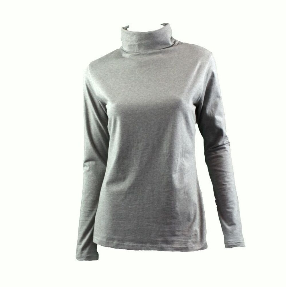 Women-039-s-Cotton-Skivvy-Turtleneck-Long-Sleeve-Top-High-Neck-Basic-Plain-Core thumbnail 8
