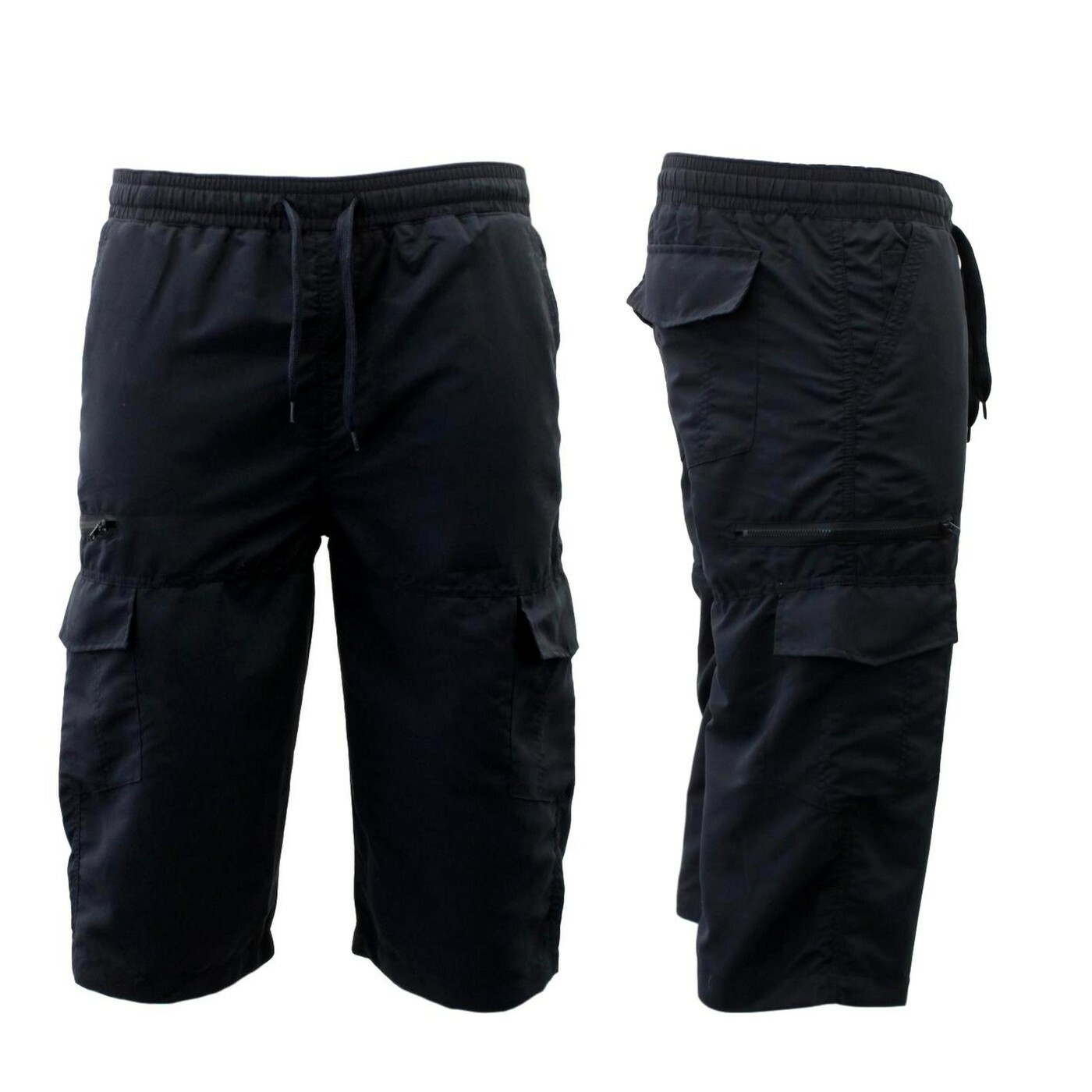 Mens-3-4-Cargo-Long-Shorts-Multi-Pocket-Elastic-Waist-Drawstring thumbnail 9