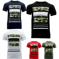 NEW Men's Casual Crew Neck Tee T-shirt Camo Camouflage Print Brooklyn