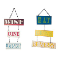 Metal Tin Wall Plaque Home Kitchen Decor Sign Quotes - Wine Dine Dance Eat Drink