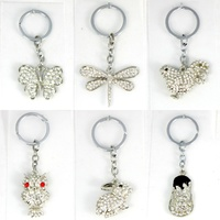 Diamante Keyring Key Chain Ring Butterfly Dragonfly Owl Rooster Rabbit Thong