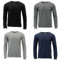 FIL Men's Long Sleeve Pullover Shirt Top Basic Tee Cotton Blend Slim Fit