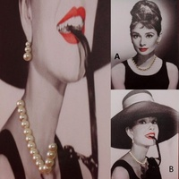 Canvas Print Mounted on Frame Audrey Hepburnw Jewels Ready to Hang Art 40x30cm