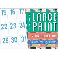 Large Print - 2021 Rectangle Wall Calendar 14 Months by Biscay (A)
