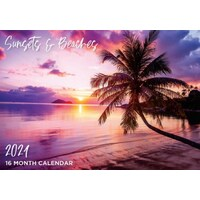 Sunsets & Beaches - 2021 Rectangle Wall Calendar 16 Months by IG Design (B)