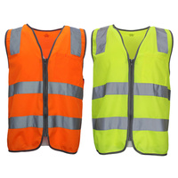 Hi Vis Safety Vest Reflective Tape Zip Up Workwear Pocket Night High Visibility