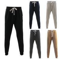 NEW Men's Track Pants Slim Cuff Trousers Sport Tracksuit Casual Plain Black Grey