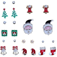2pairs Christmas Xmas Stud Earrings Party Jewelry Santa Gift Bells Tree