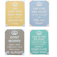Wooden Wall Art Plaque Sign Saying Quotes 40x30cm- Music Love Life Don't Worry