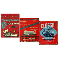 Vintage Retro Canvas Print on Frame -  Classic Garage Racing Rail Road Train