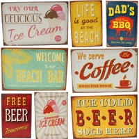 Vintage Retro Canvas Print w Frame Café Coffee Beer Ice Cream Beach BBQ 20x30cm