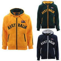 Kids Zip-up Hoodie Jacket Jumper Australian Australia Day Souvenir -Green & Gold [Colour: Green]