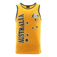 Mens Singlet T Shirt Australian Australia Souvenir Cotton - Green &  Gold / Flag