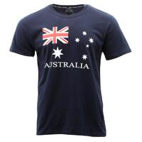 Adult T Shirt Australian Australia Day Souvenir 100% Cotton - Flag Navy
