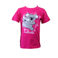 Kids Girls T Shirt Australia Australian Day Souvenir 100% Cotton- Koala w Baby