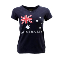 Womens Ladies Cotton T Shirt Australian Australia Souvenir  V Neck – Flag Navy