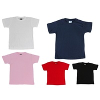 NEW Kids Childrens Boys Girls Plain T Shirt 100% Cotton 2-14 White Black Colours