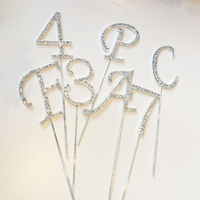 Diamante Cake Pick Topper A- Z Letters 0 - 9 Numbers Crystal Rhinstone