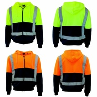HI VIS Hoodie Jacket w Reflective Tape Fleece lined Zip Jumper Safety Workwear