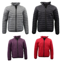 Men's Lightweight Puffer Puffy Stand Collar Coat Quilted Winter Down Jacket