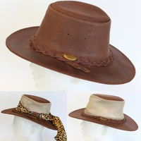 NEW Foldable Crushable Australian Aussie Outback Bush Hat Leather Akubra Style