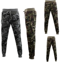 Mens Camouflage Track Pants Fleece Lined Jogger Camo Zipped Pocket Sweatpants