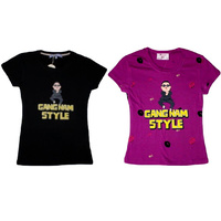 Womens Girls T-Shirt PSY Inspired Gangnam Style T Shirt - Crew Neck / V-Neck