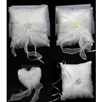 Wedding Ring Pillow Diamante Pearl Love Ivory/Pure White 18x18cm