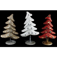 2 x Xmas Christmas Tree Glitter Festive Table Decoration Home Décor 26cm