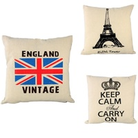 Vintage Cotton Linen Cushion Cover -England /French Paris Eiffel Tower/Keep Calm